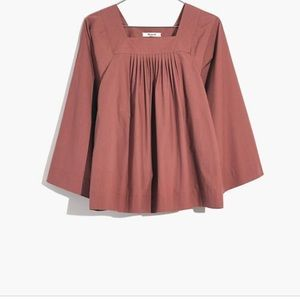 Madewell Square Neck Swing Top Peasant Blouse M